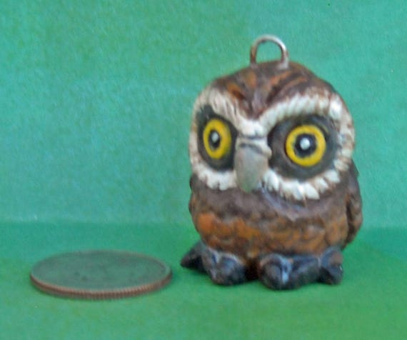 Sally Blanchard Tongue in Beak Clayworks One of a Kind Collectible Owl Christmas Ornament Hand-crafted & Painted