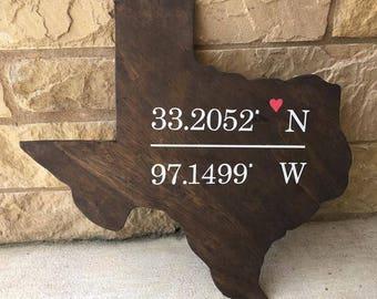 Texas love sign , rustic coordinates latitude longitude wall decor , wooden wood wedding gift