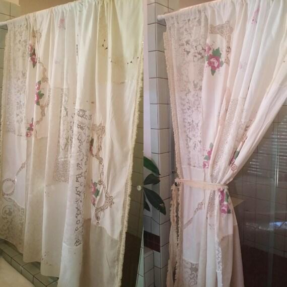 shabby chic dusche vorhang boho raum teiler patchwork antik. Black Bedroom Furniture Sets. Home Design Ideas