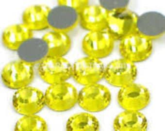 210 adhesive rhinestones glitter yellow 4 mm