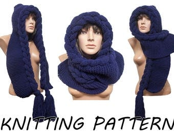 Instant Download Knitting Pattern - PATTERN, Hooded Scarf, Scoodie, Hooded Cowl, Instant Download, DIY