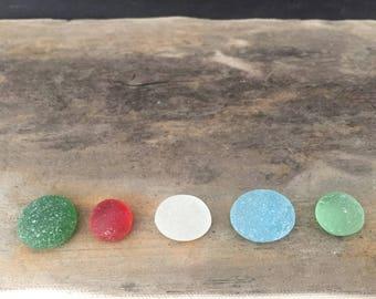 Genuine Sea Glass Mancala Pieces - Rare Sea Glass Piece - Green, Red, Clear, Light Blue, Light Green - Beach Glass Jewelry Supplies // LN35