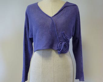 The hot price, violet linen short sweater, S/M size. Only one sample.