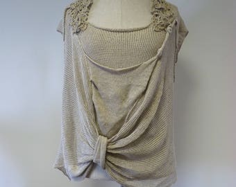 Art Deco taupe linen blouse, L size. Made of pure linen.