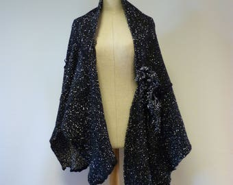 Boho handmade warm black white felted shawl. Perfect for gift.