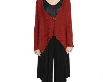 Handmade asymmetrical red linen cardigan, XL size.
