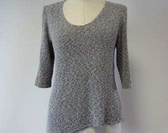 The hot price, silver grey boucle sweater, M size.