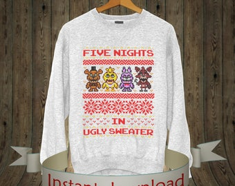 five nights at freddys shirt Iron on transfer Ugly Christmas Sweater Five Nights At Freddys Fazbear Fanf Ugly Sweater Party, Ugly gift