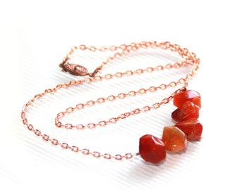 Copper and Carnelian Long Necklace