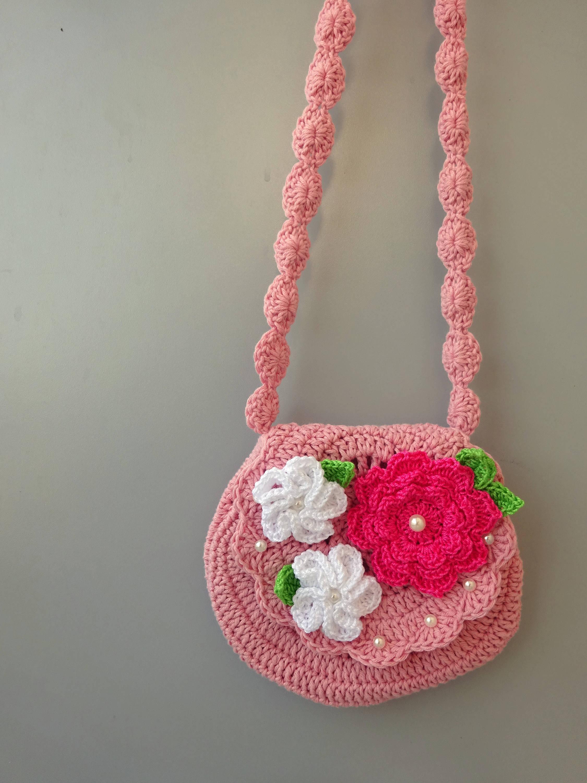 Flower Handbag Crossbag With Flowers Girl Crochet Purse Crochet
