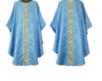 Marian Blue Gothic Vestment & Stole Set, mass church chasuble priest minister