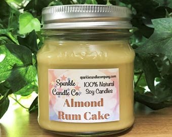 ALMOND RUM CAKE Soy Candle - 8 oz. Scented Candle - Homemade Candle - Jar Candle - Almond Candle