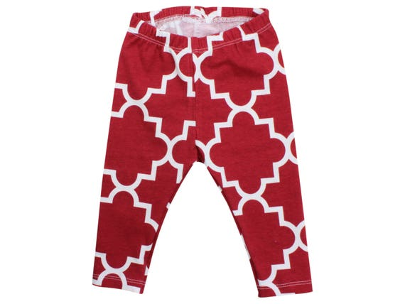 Red Baby Leggings Christmas Leggings Red Leggings Girl Leggings Holiday Leggings Christmas Baby Outfit First Christmas Outfit Quatrefoil