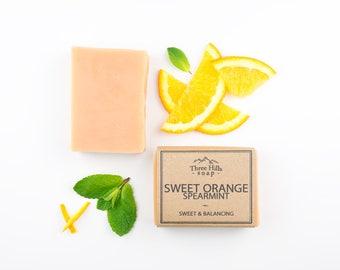 Sweet Orange Soap, Spearmint Soap, Natural Skin Care, Oily Skin Soap, Soap for Body, Normal Skin Soap, Refreshing Soap,Vegan Soap, Palm Free