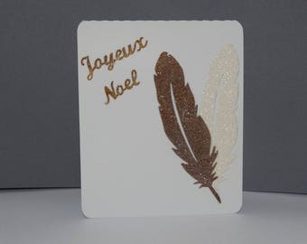 Christmas card two bronze feathers