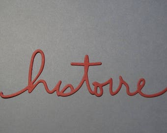 Cut paper word story red