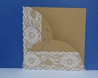 Rounded lace Pocket wedding invitation