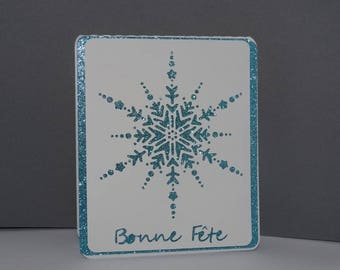 Icy blue star Christmas card
