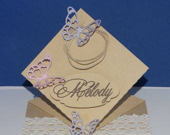 Mark up through lace Butterfly square card