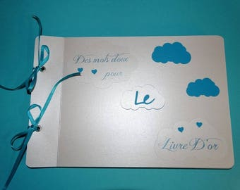 Guestbook all in cloud blue turquoise and white