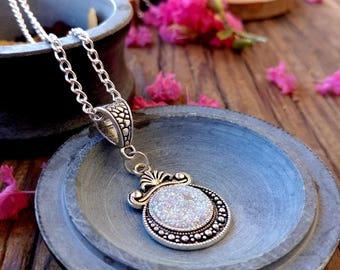 Stardust Dreams Glitter Pendant Necklace, Faux Druzy Glitter Necklace, Silver Glitter, Silver Moon Pendant, Resin Jewelry
