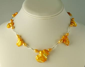 Sterling Silver Yellow Blister Pearls Necklace
