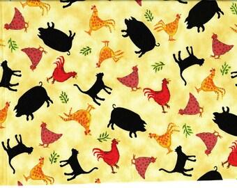Tissu Patchwork Animaux de la ferme sur fond jaune - coupon coton pour loisirs créatifs et patchwork -