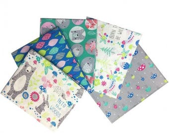 Into the Woods 5-piece Fat Quarter Bundle (Blue/Green/Grey) Bear Mushroom Woodland Forest