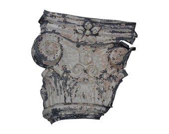 Impressive 19th Century Painted Zinc Corinthian Column Cherub Face Capital Fragment (I)