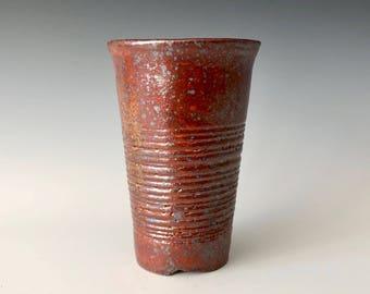 Modern Handmade Ceramic Wine Cup, Tea Cup, Coffee Cup, Tumbler Reddish Bronze Shino Glaze Haight Pottery Company