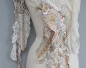 Handmade White Shabby Chic Scarf, Wrap, Boho Style Scarf, Gypsy Style Scarf, Boho Chic, Bohemian Scarf by The Gypsy Tattoo