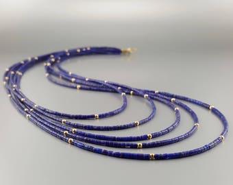 Elegant multi string Lapis Lazuli necklace with 14K gold - natural genuine Lapis Lazuli - blue and gold - fine necklace - gift idea - fine