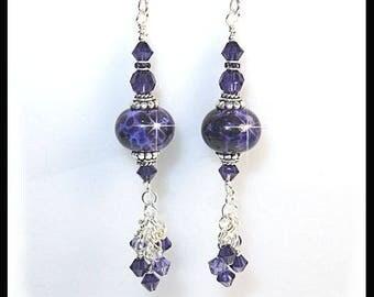 Purple lampwork glass bead earrings with purple velvet Swarovski crystals, long purple earrings, chandelier earrings, dangles