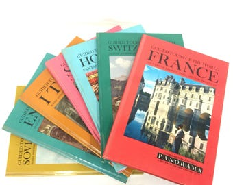 Guided Tours of the World Vintage Travel Books Record and Slides Seven Books England Holland Italy Soviet Union Spain Switzerland France