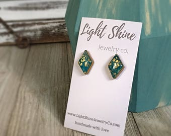 Hand Sculpted and Painted Clay and Resin Blue and Gold Stud Earrings