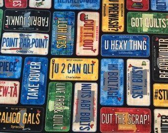 Row by Row License Plate Fabric