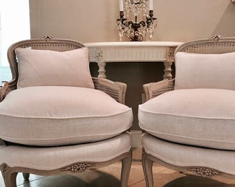Pair French Cane Bergere Chairs