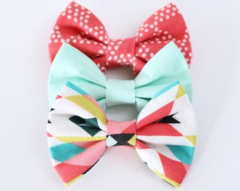 Mint Aztec CLASSIC STYLE Bows // Simple Hair Bows // Coral Triangles, Solid Mint, Aztec Print // Girls Hair Accessories