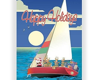 Sailboat Happy Holidays Christmas Card - 18 Cards & Envelopes - 60023
