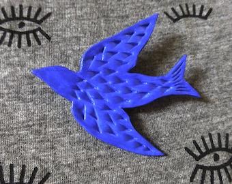 Bright blue swallow brooch