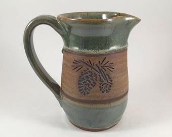 Pottery Pitcher, Ceramic Pinecone Design Pitcher, Handmade Serving Pitcher, Stoneware Pottery Pitcher, Wedding Gift, Ready to Ship