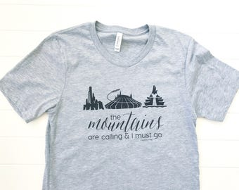 the mountains are calling t-shirt, unisex t-shirt, women's graphic tee, disney graphic shirt