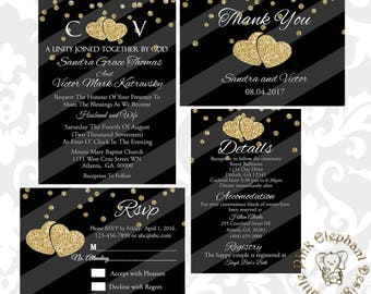 Hearts wedding invitation- black and gold invitation suite- wedding invitation- glitter invitation- black and gold glitter
