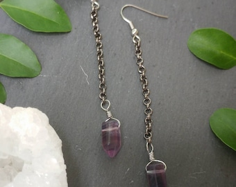 Fluorite Chain Earrings // Purple Rainbow Fluorite Point & Gunmetal Chain Earrings // Simple purple gemstone earrings // Minimal purple ear