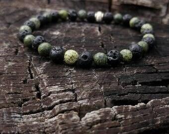 Serpentine & Lava Rock Wrist Mala // Gemstone Yoga Bracelet // Men's Yoga Bracelet // Unisex Wrist Mala Bracelet