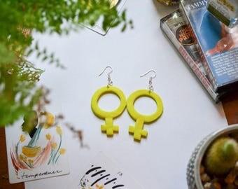 Neon Green Venus Earrings