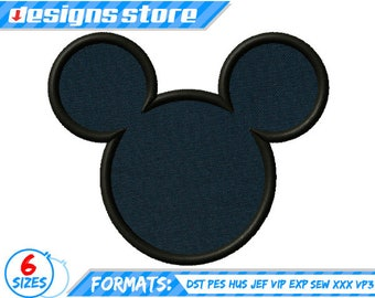 MICKEY APPLIQUE DESIGN embroidery silhouette Disney in 6 sizes