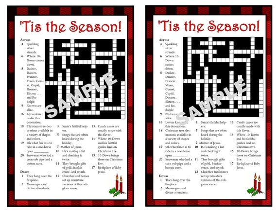 Christmas-Themed Printable Crossword Puzzle Christmas Games