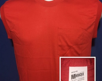 Vintage 1980s deadstock blank red pocket muscle sleeveless t shirt *S