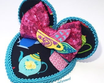 READY TO SHIP- Alice In Wonderland Mad Tea Party Teardrop Retro Dapper Mouse Ears Fascinator Hat